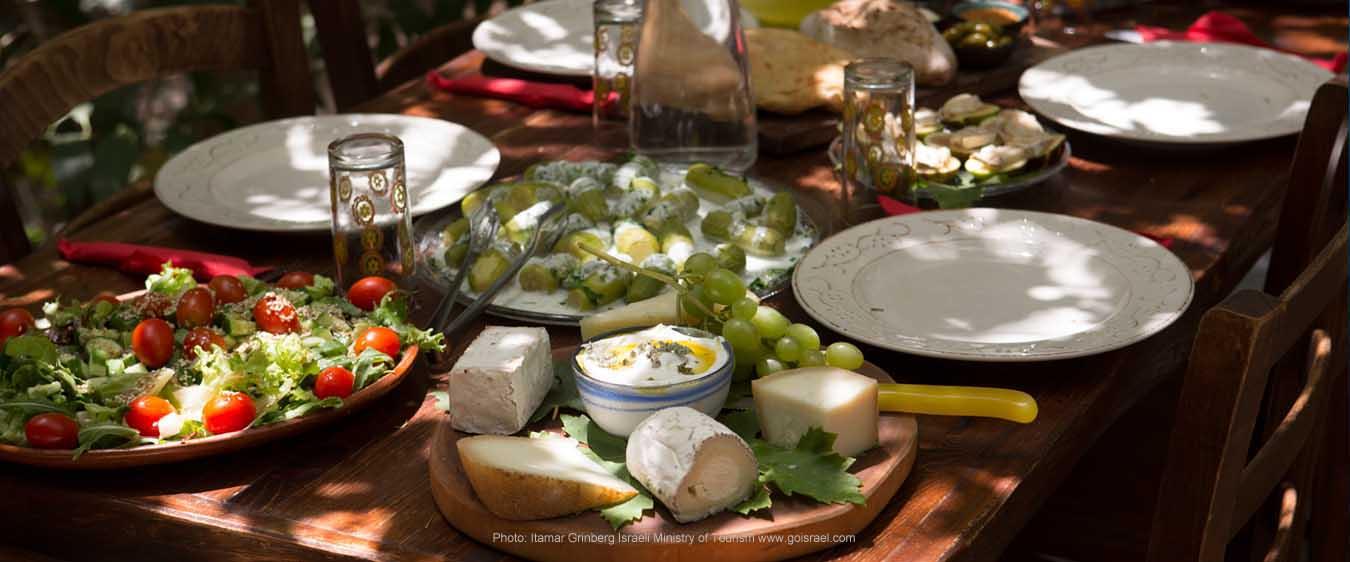 Beautiful brunch table set in Galilee